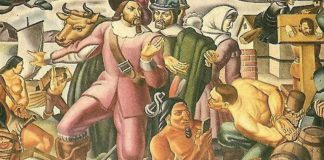 uomo usa lo smartphone in un dipinto