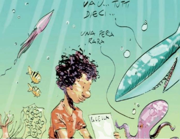 bambino annegato con la pagella cucita