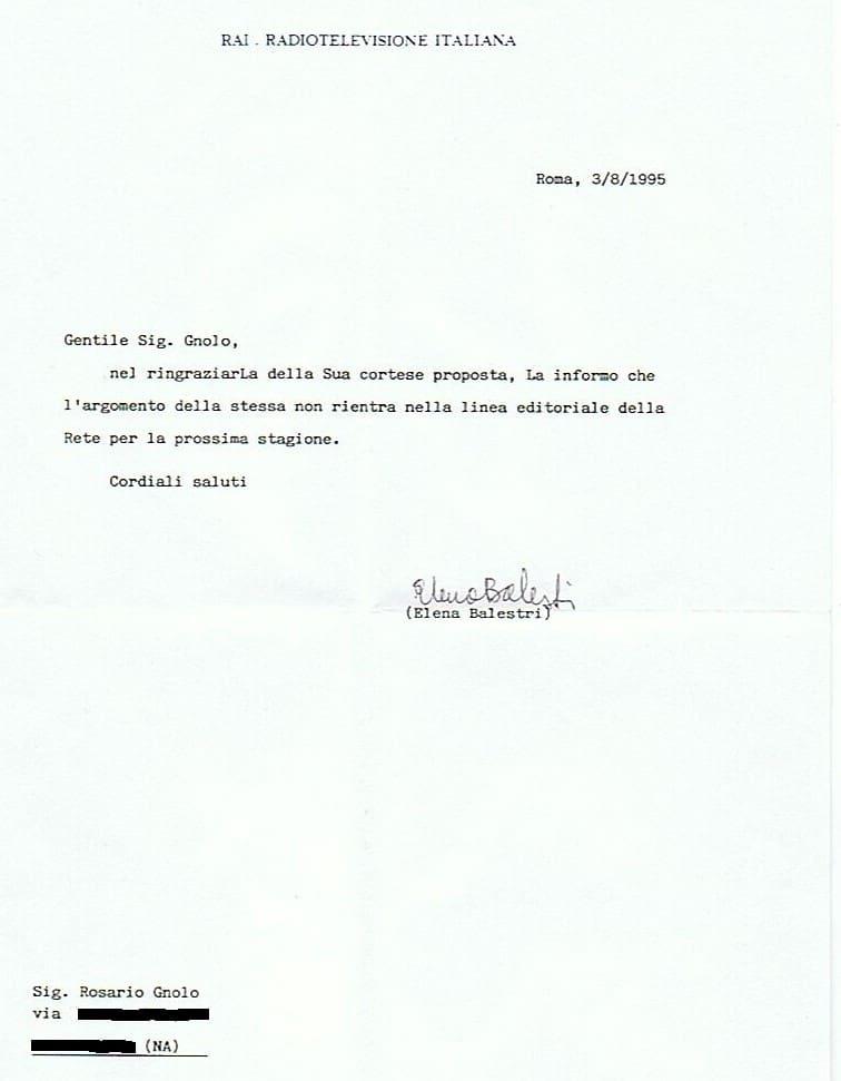 Lettera alla Rai Di Elena Balestri